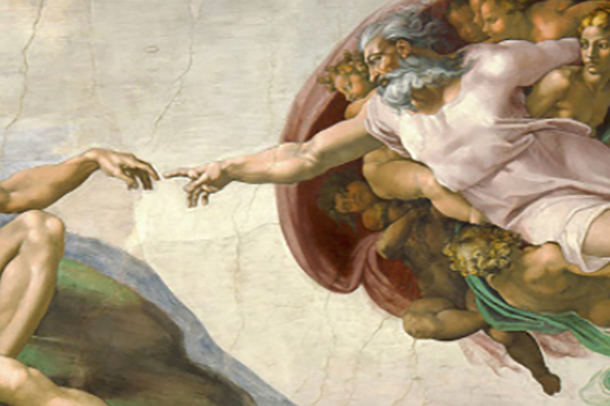2 painted figures nearly touching fingers in painting in Sistine Chapel