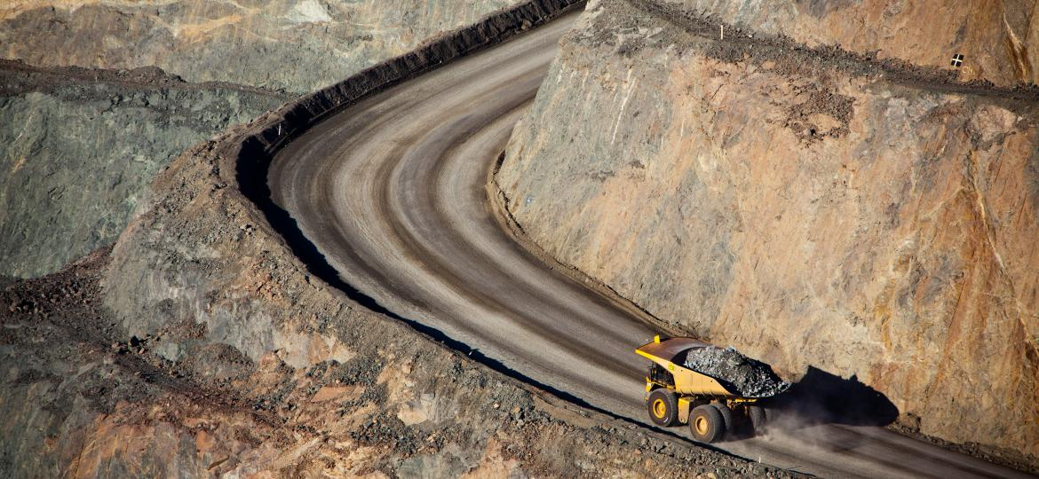 Mining truck driving on a road